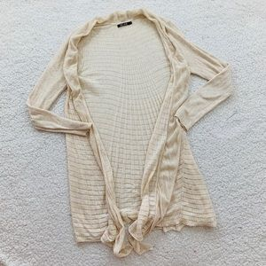Nic & Zoe long ivory textured cardigan open front